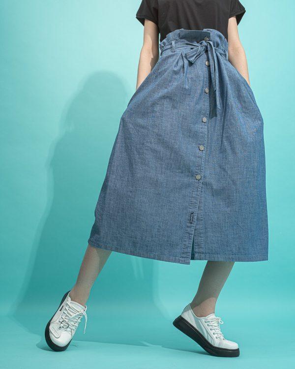 دامن بلند جین کاغذی مدل jean skirt