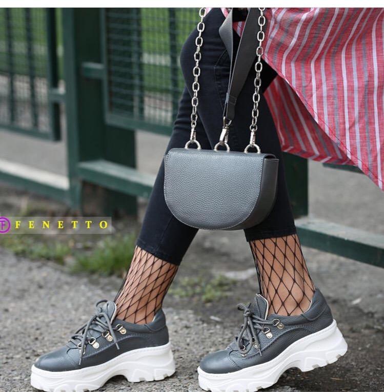کتانی زنانه بند دار چرم مدل num3 loge sneakers