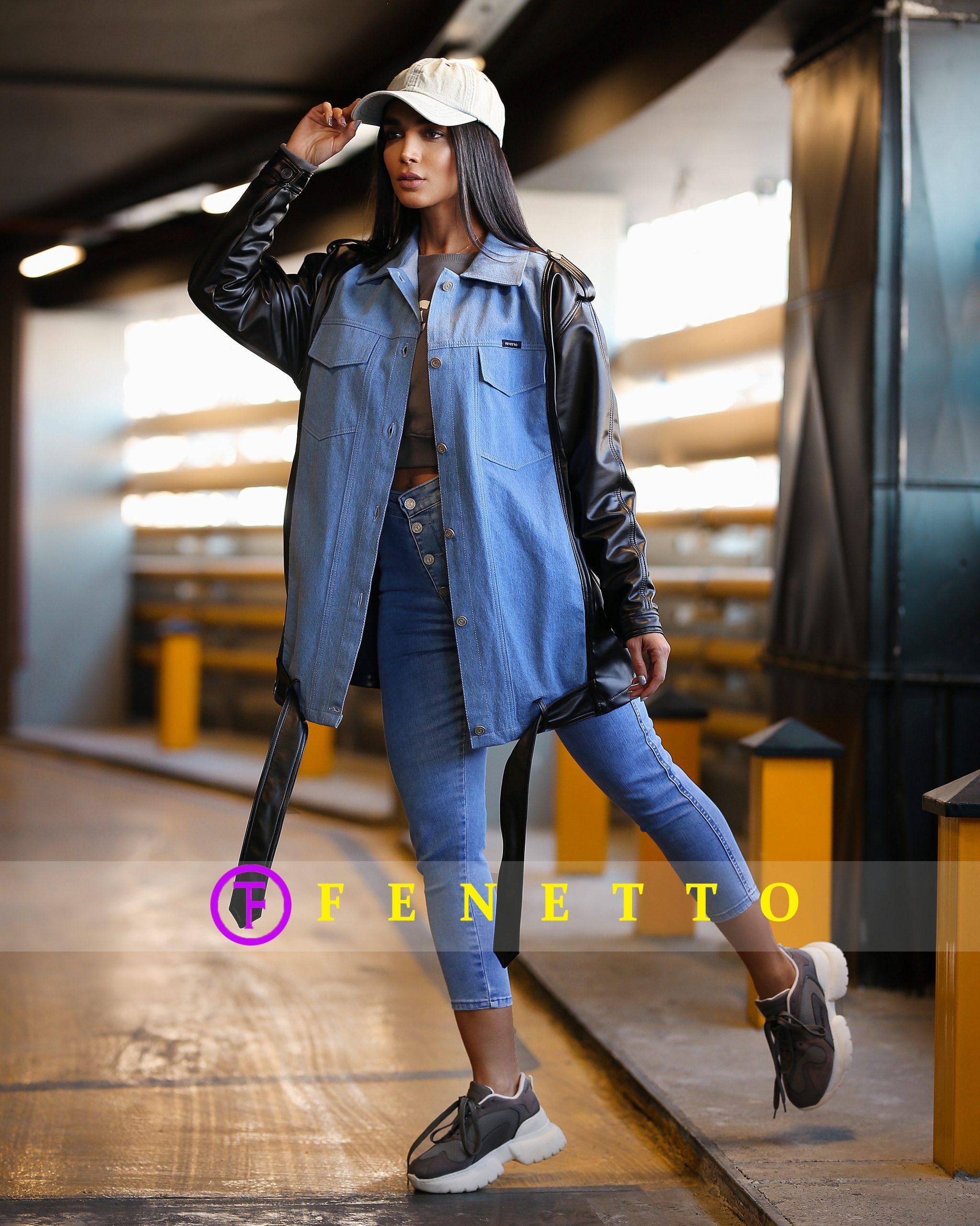 مانتو چرم و جین زنانه sleeve leather