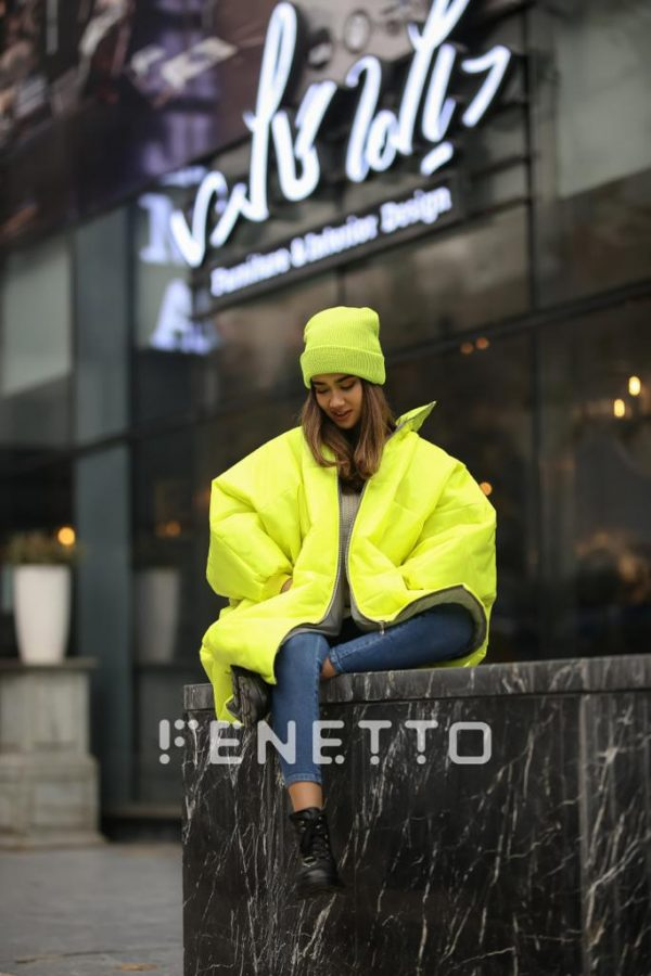 کاپشن زنانه پافر بلند مدل bat jacket