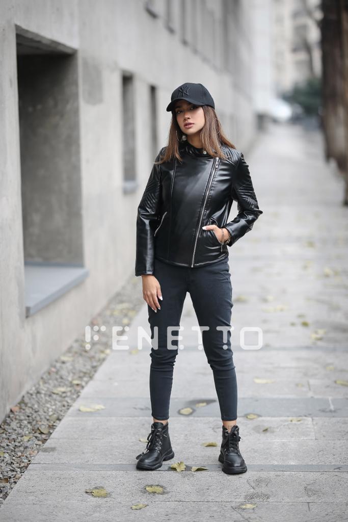 کت چرم زنانه کوتاه مدل middy leather coat