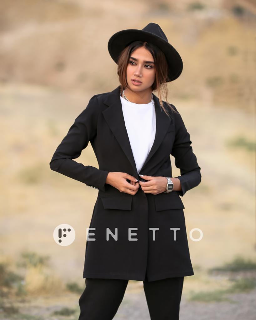 کت شلوار زنانه پارچه ای ساده مشکی مدل simple coat
