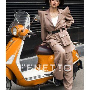 کت شلوار زنانه پارچه ای سرشانه تیز مدل set coat 2021